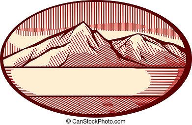 góra, wektor, ilustracja