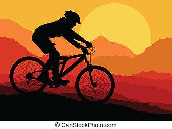 góra, wektor, jeżdżenie na rowerze, tło, afisz