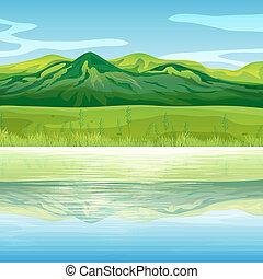 góra, wszerz, jezioro