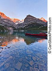 góra, zachód słońca, jezioro