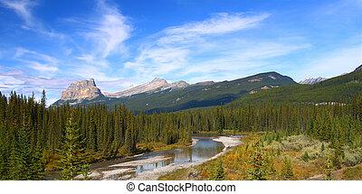 góra, zamek, rzeka, łuk