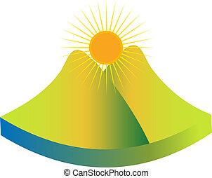góra, zielony, logo