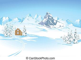 góra, zima krajobraz, wizje lokalne