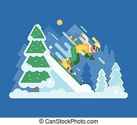 góra, zima, las, narciarstwo, jeżdżenie, człowiek