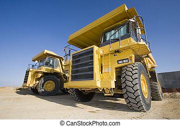 górnictwo, żółty, ciężarówki