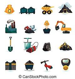 górnictwo, komplet, ikony