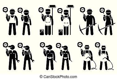 górnictwo, ruchomy, zbudowanie, pracownicy, jobs., ich, budowniczowie, używając, przemysłowy, app