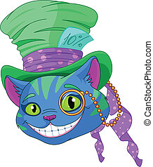 górny, cheshire, kapelusz, kot