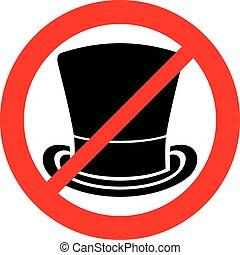 górny, dozwolony, zakaz, znak, (not, kapelusz, icon)
