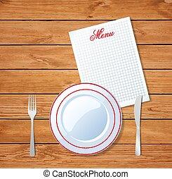 górny, zmontowanie, szablon, obiad, stół, prospekt, design.