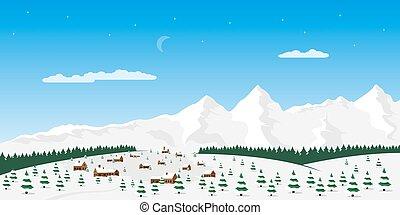 górski krajobraz, wieś
