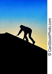 górski szczyt, człowiek, sylwetka, wspinaczkowy
