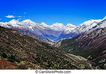 górskie daszki, himalaje, biały, dolina, prospekt