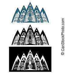 góry, abstrakcyjny, komplet