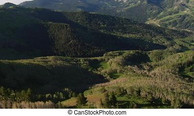 góry, antena, ciągnąć, zielony las, strzał