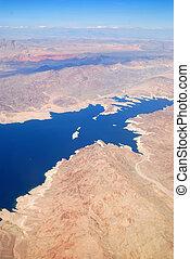 góry, antena, jezioro, prospekt