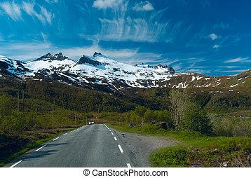 góry, asfalt, wóz, jasny, słoneczny, norvegian, dzień, droga