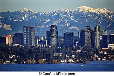 góry, bellevue, śnieżny, waszyngton, jezioro, kaskada, stan