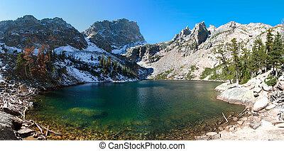 góry, co, skalisty, krajowy, jezioro, park, szmaragd
