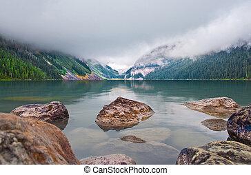 góry, jezioro, skalisty, louise