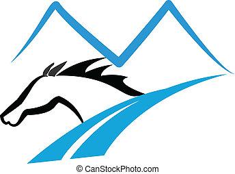 góry, koń, droga, logo