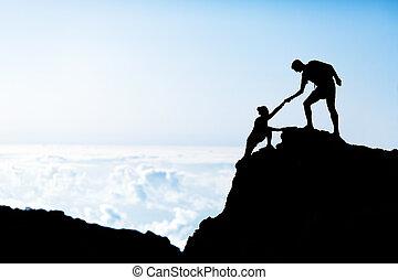 góry, kobieta, sylwetka, pomoc, człowiek