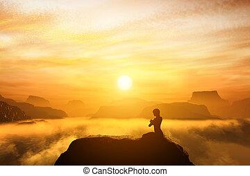 góry, kobieta, yoga, posiedzenie, górny, medytacja, położenie
