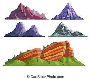 góry, krajobraz, wulkan, komplet, konstruktor, różny, spanie