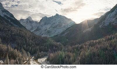 góry, las, antena, śnieżny, strzał