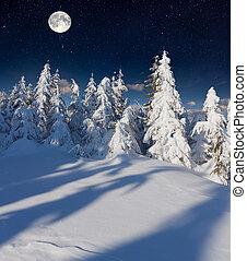 góry, moon., pełny, zima krajobraz
