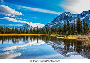 góry, ośnieżony, odbijał się, jezioro
