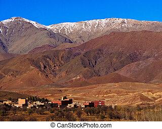 góry, panorama, snowcapped, marokańczyk, wieś, atlas