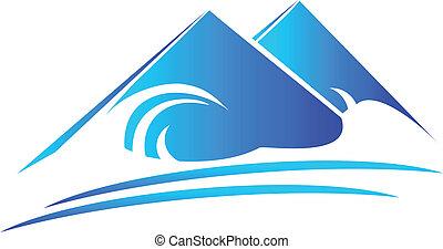 góry, plaża, logo