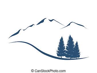 góry, pokaz, ilustracja, stylizowany, jodły, krajobraz, alpejski