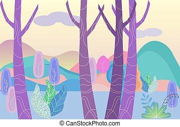 góry, rysunek, illustration., poziomy, las, fantastyczny, ilustracja, rano, wcześnie, morning., wektor, krajobraz, mglisty, mgiełka, oddalony
