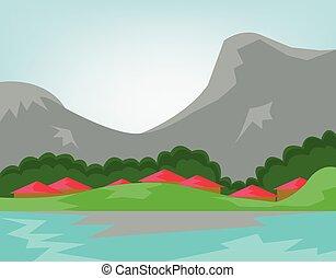 góry, rzeka, las, wszerz, wieś