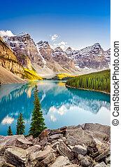 góry, skalisty, kanadyjczyk, jeziorowa morena, krajobraz, prospekt