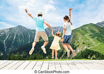 góry, skokowy, rodzina, szczęśliwy