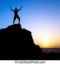 góry, sylwetka, powodzenie, hiking, człowiek