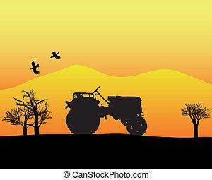 góry, traktor, tło, drzewa