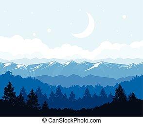 góry, -, trzęsie się, las, stopa, mglisty, krajobraz