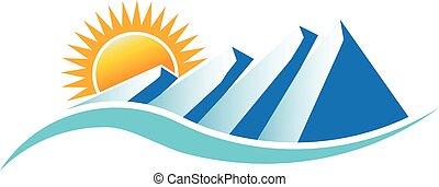 góry, wektor, projektować, logo., słoneczny, graficzny
