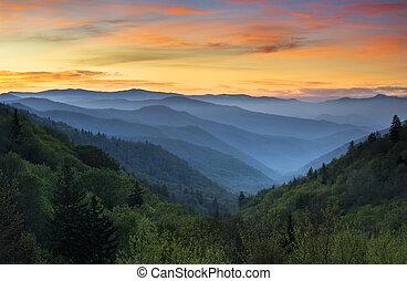góry, wielki, cherokee, krajowy, nc, park, gatlinburg, tn, krajobraz, dolina, oconaluftee, dymny, wschód słońca