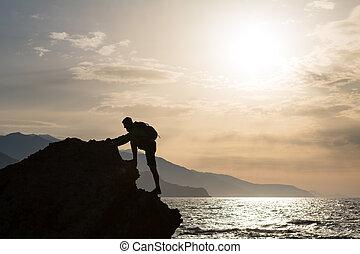 góry, wspinaczkowy, sylwetka, hiking, ocean
