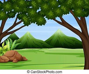 góry, wysoki, ilustracja, las, zielony, wszerz
