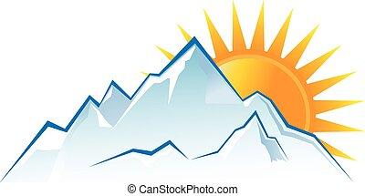 góry, zachód słońca, logo