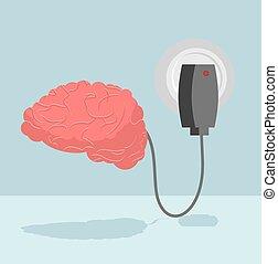 główny, thoughts., bateria, rumak, energizes, pojęcia, autorytet, system, cerebrum., koszt, brain., ludzki, nerwowy, nowy, szpik kostny, załadowany