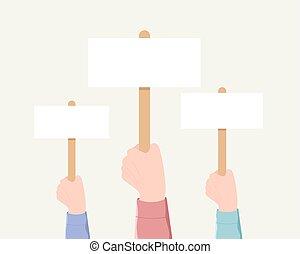 głosowanie, demonstracja, minting, concept.