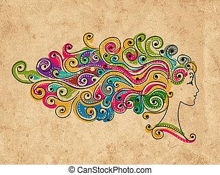 głowa, barwny, fryzura, abstrakcyjny zamiar, samica, twój
