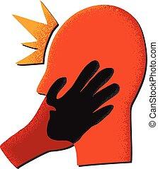 głowa, czarny czerwony, ręka